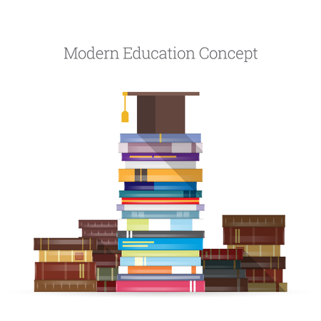 book: Vector illustration of modern education concept with mortarboard on stacks of new and old books. Illustration