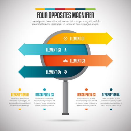flechas direccion: Ilustración vectorial de cuatro opuestos lupa elemento de diseño infográfico.