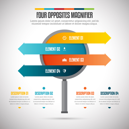 direction arrows: Vector illustration of four opposites magnifier infographic design element.