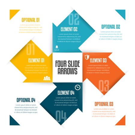 Ilustración vectorial de cuatro flechas de diapositivas infografía elemento de diseño. Ilustración de vector