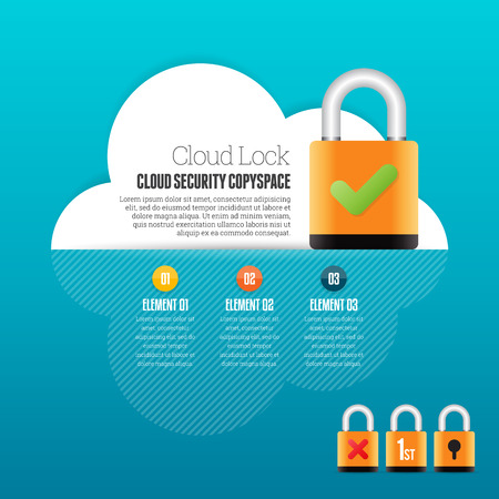 deisgn: Vector illustration of cloud lock security infographic deisgn element. Illustration