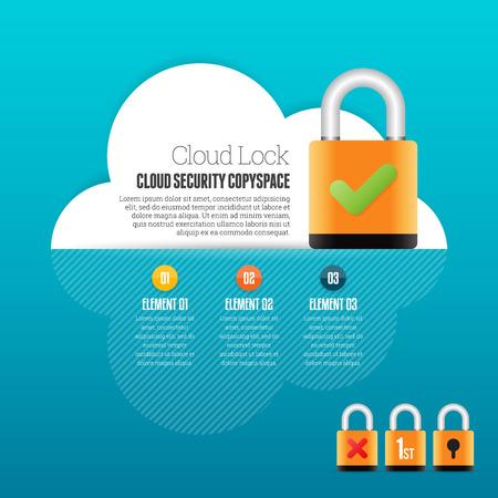 security lock: Vector illustration of cloud lock security infographic deisgn element. Illustration