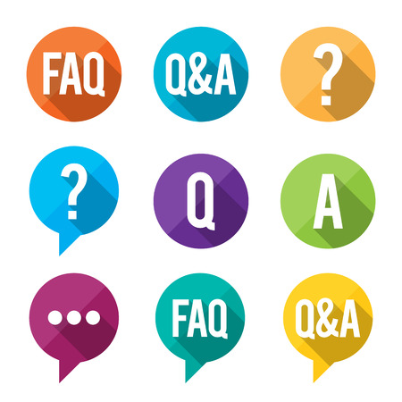 questions: Vector illustration of flat-styled Frequently Asked Question or FAQ symbols.