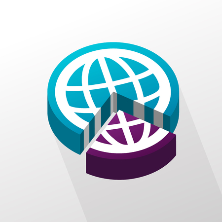 removed: Vector illustration of three quarter and a quarter globe pie.