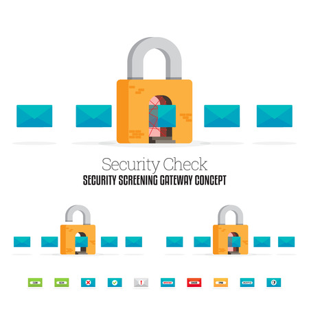 locks: Vector illustration of mails going through a security screening padlock.
