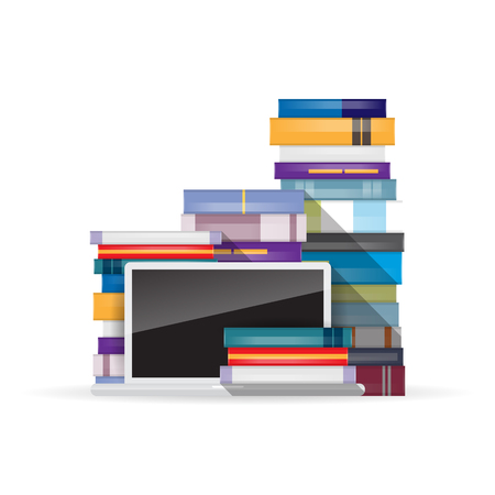 heaps: Vector illustration of a laptop and heaps of books.