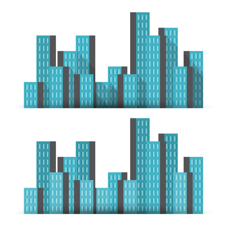 business buildings: Vector illustration of business tower buildings, with two shadow settings.