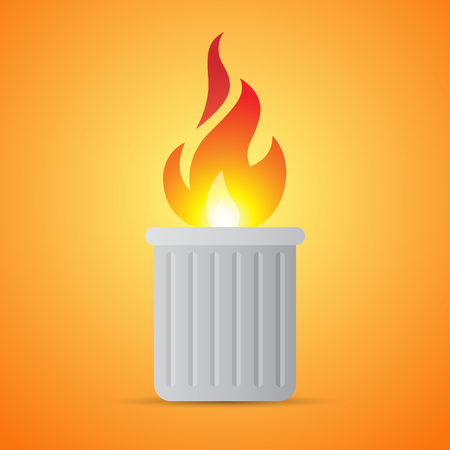 Vector illustration of burning flaming trash can. Content unknown.