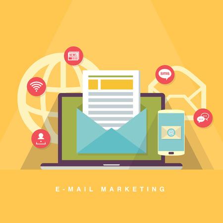 correo electronico: Vector ilustración de dibujos animados plana de e-mail concepto de marketing.