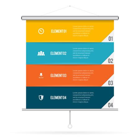 presentation screen: Vector illustration of presentation screen infographic design element.