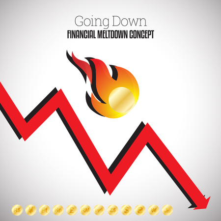 burning money: Vector illustration of flaming gold coin falling down with a down arrow graphic.