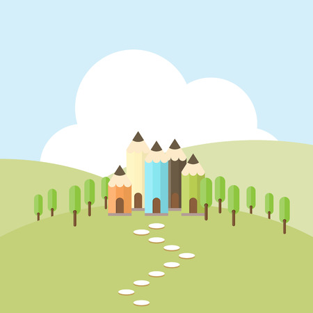 hilly: Vector cartoon illustration of a color pencil village on top of hilly terrain. Illustration