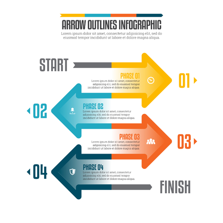 Vector illustration of arrow outlines infographic design element. Illustration