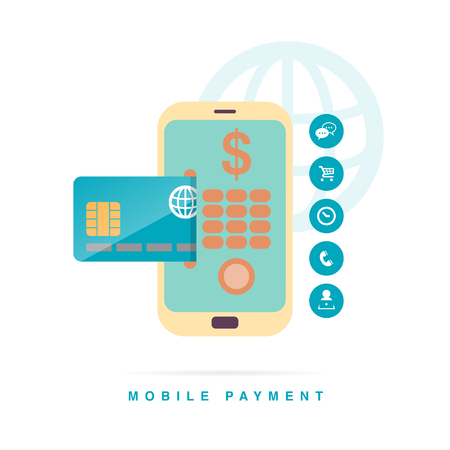 technology transaction: Vector illustration of mobile payment concept with phone and credit card interface. Illustration