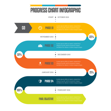 Vector illustration of progress chart infographic design element.