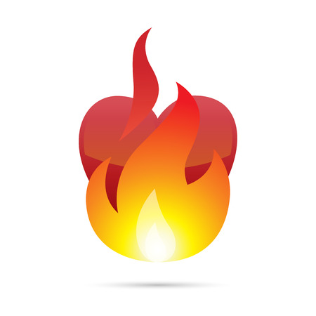 red love heart with flames: Vector illustration of a heart burning with fire.