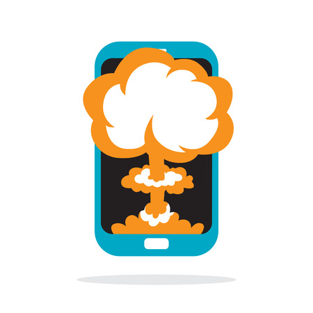 display problem: Vector cartoon illustration of a nuclear explosion on a phone.