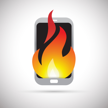 technology symbols metaphors: Vector illustration of a smartphone on fire.
