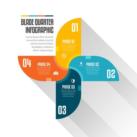 quarters: Vector illustration of blade quarter infographic design elements.