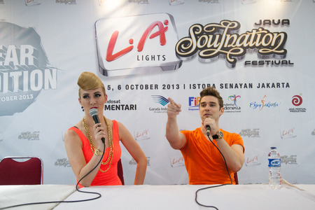 celeb: JAKARTA, INDONESIA - OCTOBER 04, 2013: American pop duo Karmin at the press conference on 1st of The 6th LA Lights Java Soulnation Festival 2013 on October 4, 2013 in Jakarta, Indonesia.