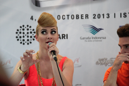 duet: JAKARTA, INDONESIA - OCTOBER 04, 2013: Amy Renee Heidemann of Karmin, American duo at the press conference on 1st of The 6th LA Lights Java Soulnation Festival 2013 on October 4, 2013 in Jakarta, Indonesia.