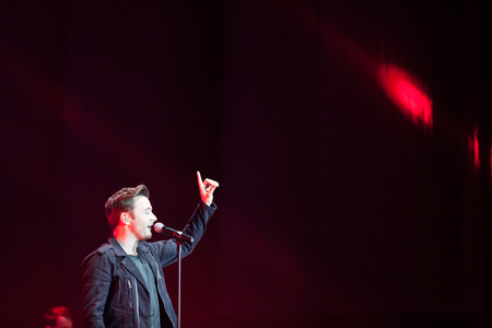 celeb: JAKARTA, INDONESIA - OCTOBER 4, 2013: Shane Filan performs on day 1 of the 6th LA Lights Java Soulnation Festival 2013 on October 4, 2013 in Jakarta, Indonesia. Editorial