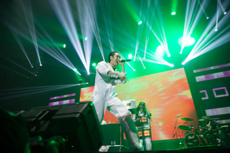 far east: JAKARTA, INDONESIA - OCTOBER 4, 2013: Kevin Nishimura of hip hop band Far East Movement performs at the 6th LA Lights Java Soulnation Festival 2013 on October 4, 2013 in Jakarta, Indonesia. Editorial