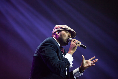 jones: JAKARTA, INDONESIA - OCTOBER 6, 2013: Jamie Jones of American R&B group All-4-One performs at the 6th LA Lights Java Soulnation Festival 2013 on October 6, 2013 in Jakarta, Indonesia. Editorial