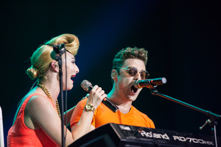 celeb: JAKARTA, INDONESIA - OCTOBER 4, 2013: American pop duo Karmin performs at the 6th LA Lights Java Soulnation Festival 2013 on October 4, 2013 in Jakarta, Indonesia. Editorial