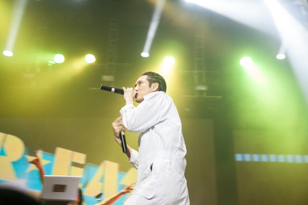 celeb: JAKARTA, INDONESIA - OCTOBER 4, 2013: Kevin Nishimura of hip hop band Far East Movement performs at the 6th LA Lights Java Soulnation Festival 2013 on October 4, 2013 in Jakarta, Indonesia. Editorial
