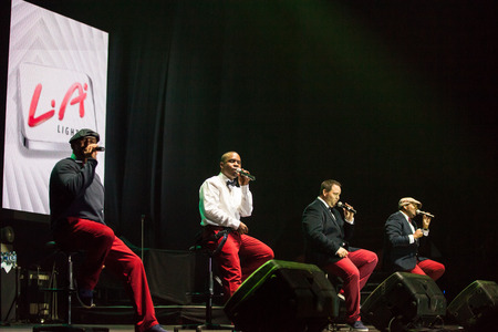 celeb: JAKARTA, INDONESIA - OCTOBER 6, 2013: American R&B group All-4-One performs at the 6th LA Lights Java Soulnation Festival 2013 on October 6, 2013 in Jakarta, Indonesia. Editorial