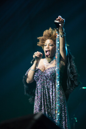 celeb: JAKARTA, INDONESIA - OCTOBER 6: American R&B singer Macy Gray performs at the 6th LA Lights Java Soulnation Festival 2013 on October 6, 2013 in Jakarta, Indonesia.