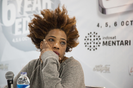 celeb: JAKARTA, INDONESIA - OCTOBER 6, 2013: American singer, Macy Gray is giving a press conference at the 6th LA Lights Java Soulnation Festival 2013 on October 6, 2013 in Jakarta, Indonesia. Editorial