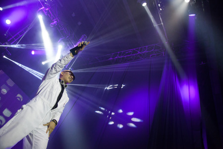 celeb: JAKARTA, INDONESIA - OCTOBER 4, 2013: James Roh of hip hop band Far East Movement performs at the 6th LA Lights Java Soulnation Festival 2013 on October 4, 2013 in Jakarta, Indonesia.