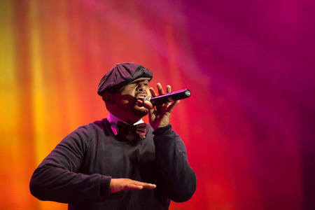 celeb: JAKARTA, INDONESIA - OCTOBER 6, 2013: Alfred Nevarez of American R&B group All-4-One performs at the 6th LA Lights Java Soulnation Festival 2013 on October 6, 2013 in Jakarta, Indonesia.