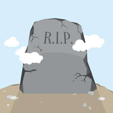 erosion: Vector cartoon illustration of a gravestone Illustration