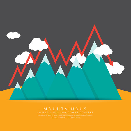 ups: Vector illustration of mountain range with conceptual ups and downs of business.