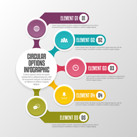 graphical chart: Vector illustration of circular options infographic design elements.