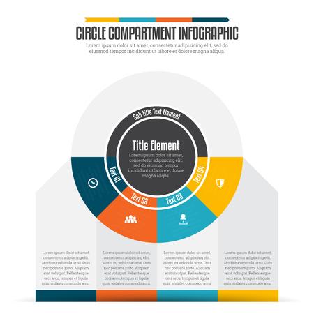 Vector illustration of circle compartment infographic design element. Illustration
