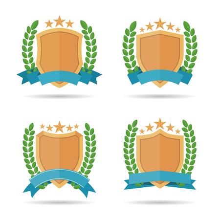 leafs: Vector illustration of flat style shield emblem design elements. Illustration