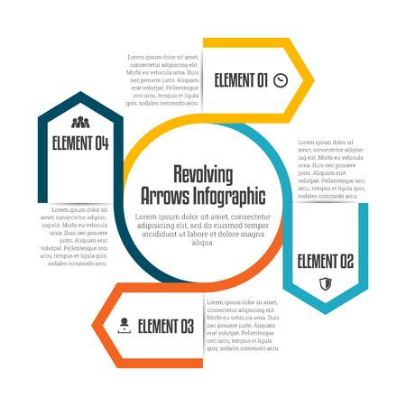 revolving: Vector illustration of revolving arrows infographic design element.