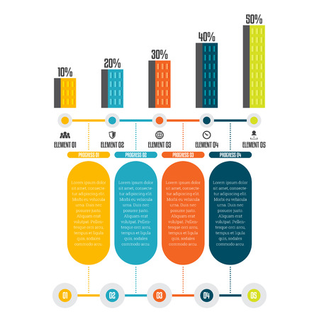 factor: Vector illustration of tower progress infographic design element.