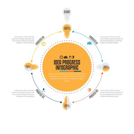 graphical chart: Vector illustration of idea progress infographic design element.
