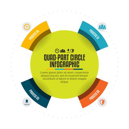 quad: Vector illustration of quad part circle infographic design element.