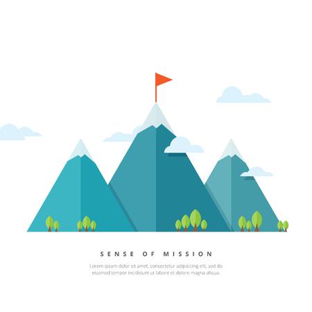 Vector illustratie van bergen met vlag pole. Stock Illustratie