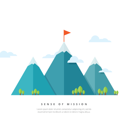 goal oriented: Vector illustration of mountains with flag pole. Illustration