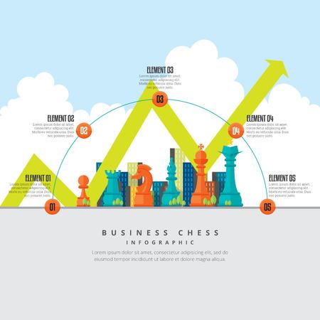 Ilustración del vector de ajedrez negocio infografía elemento de diseño.