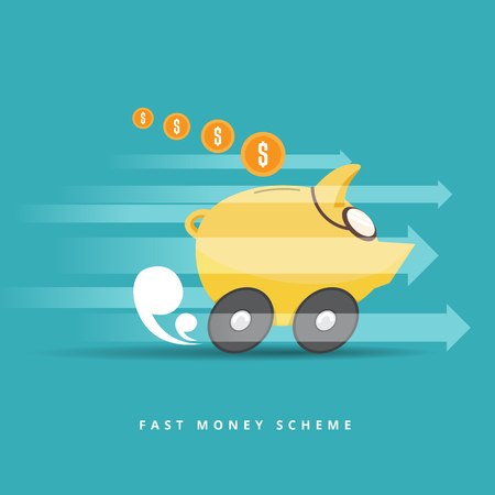 speeding: Vector illustration of a piggy bank with goggles and wheels speeding.