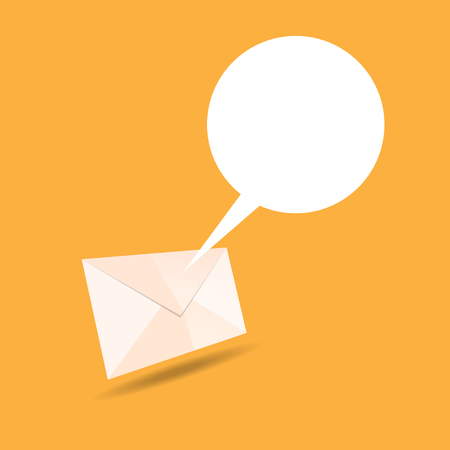 talk bubble: Vector illustration of mail letter envelope with talk bubble.