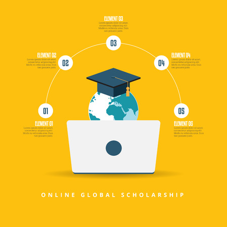 scholarship: Vector illustration of online global scholarship education concept.